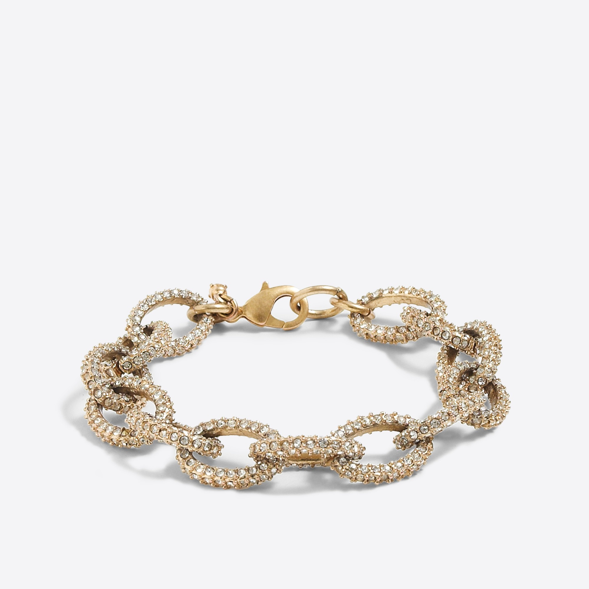 factory womens Gold and crystal link bracelet