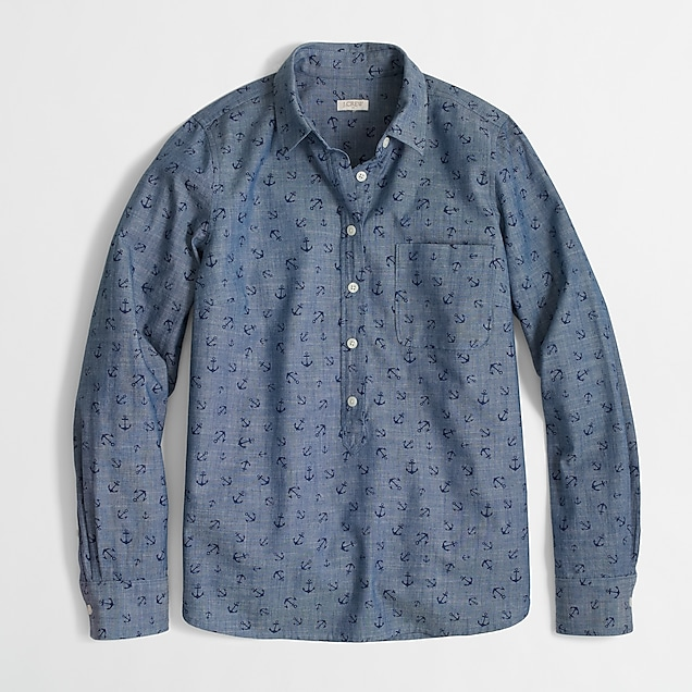 j.crew factory: factory printed chambray popover