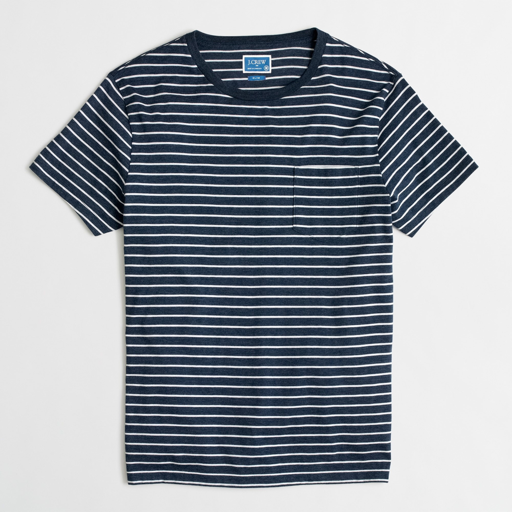 Image 2 for Tall slim Broken-in striped pocket T-shirt