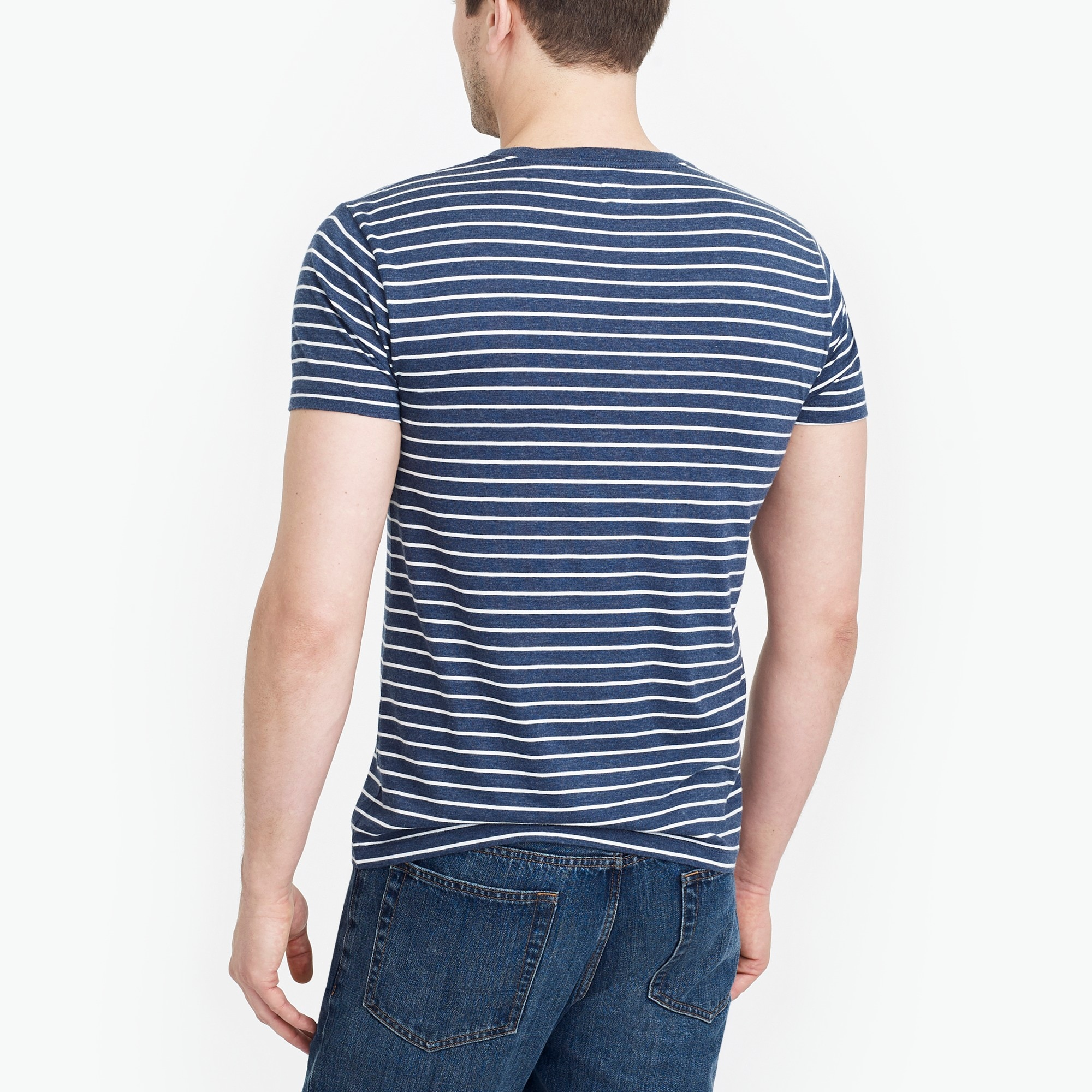 Image 3 for Tall slim Broken-in striped pocket T-shirt