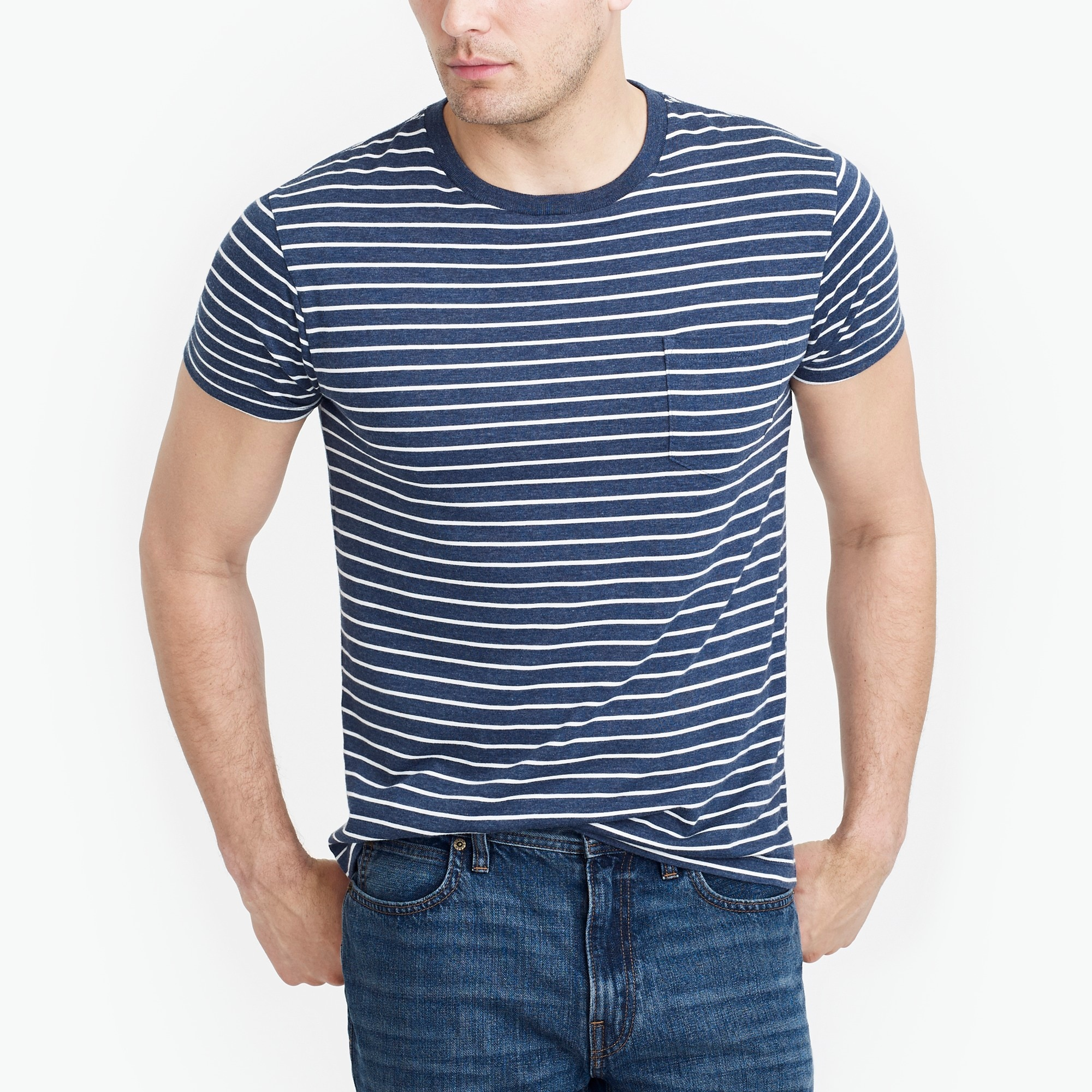 factory mens Tall slim Broken-in striped pocket T-shirt