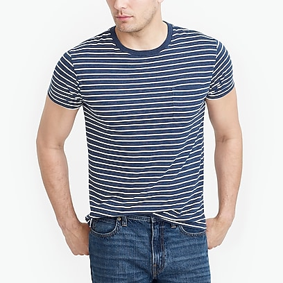 factory mens Slim Broken-in striped pocket T-shirt