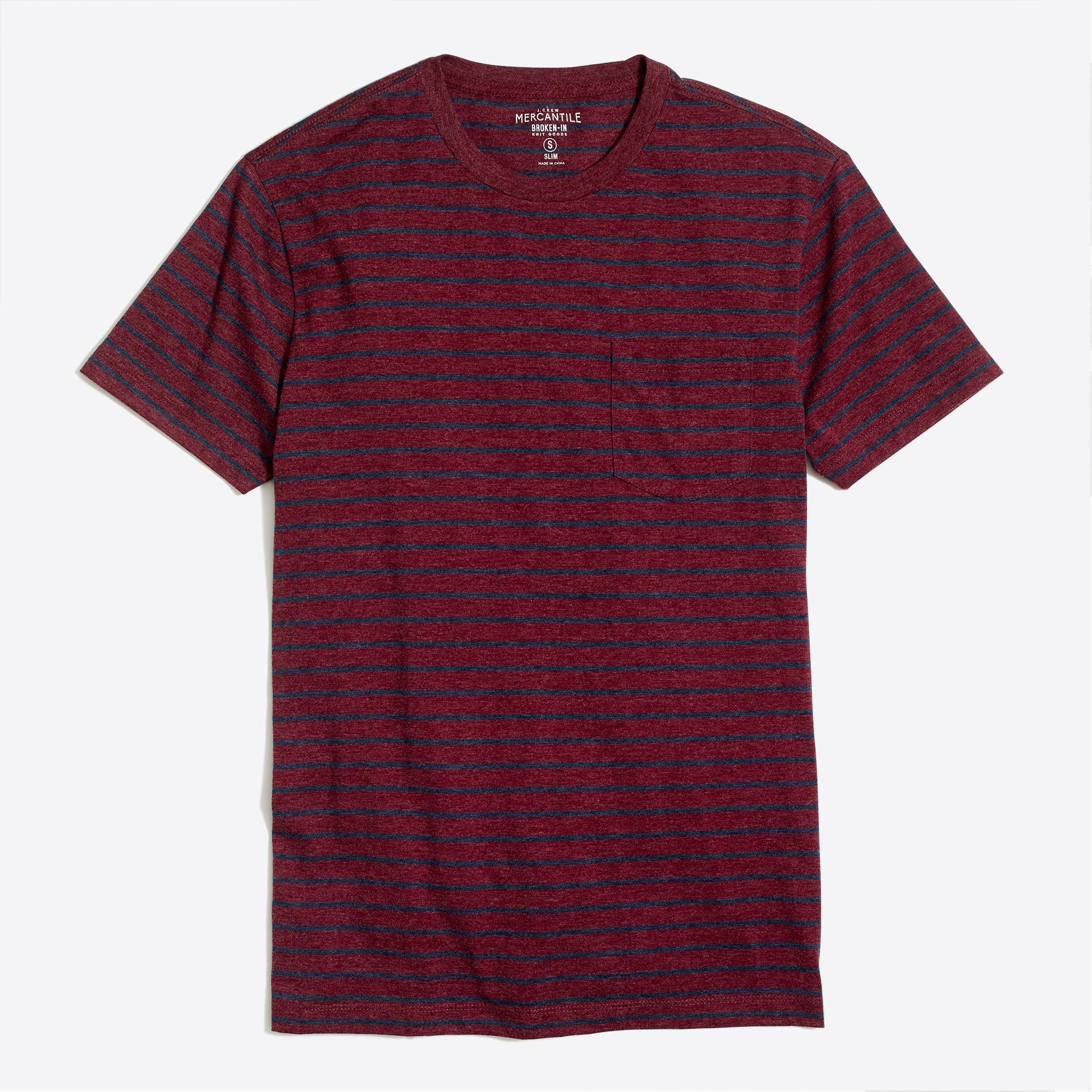 factory mens J.Crew Mercantile slim Broken-in striped pocket T-shirt
