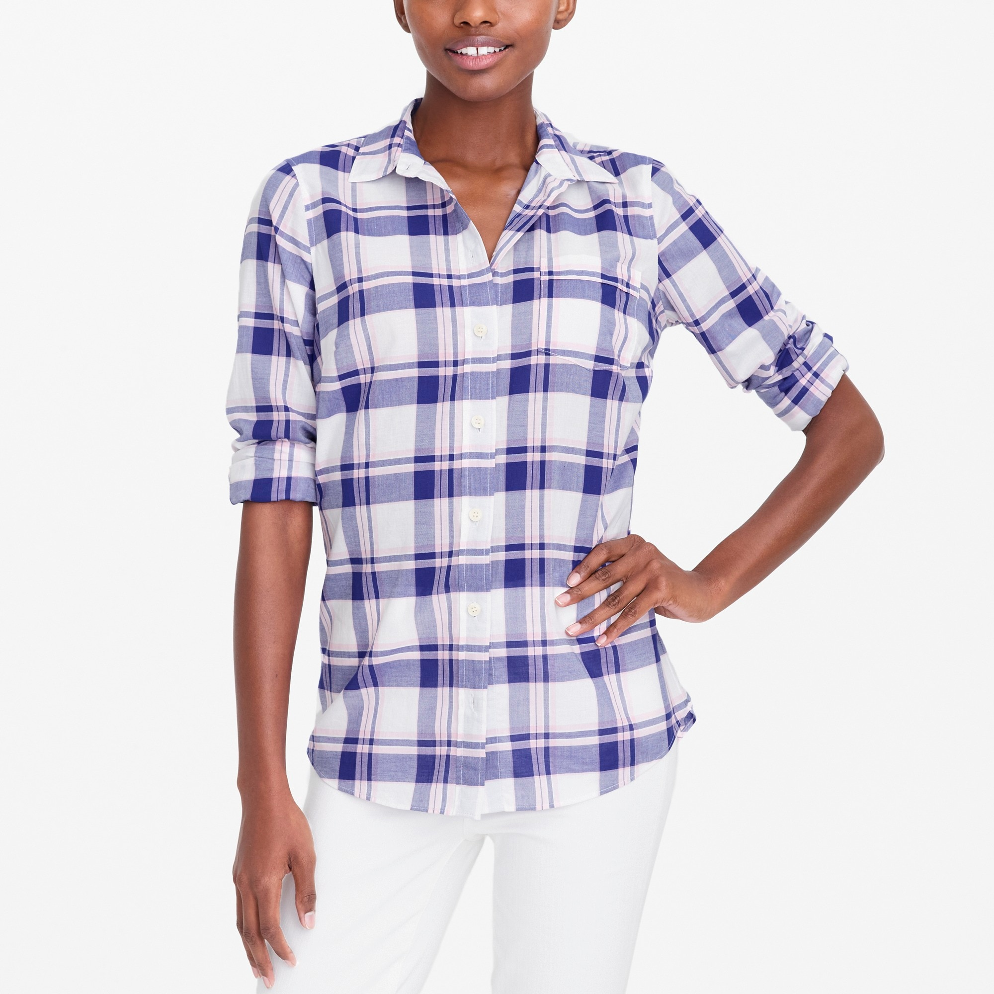 Plaid classic button-down shirt in perfect fit factorywomen new arrivals c