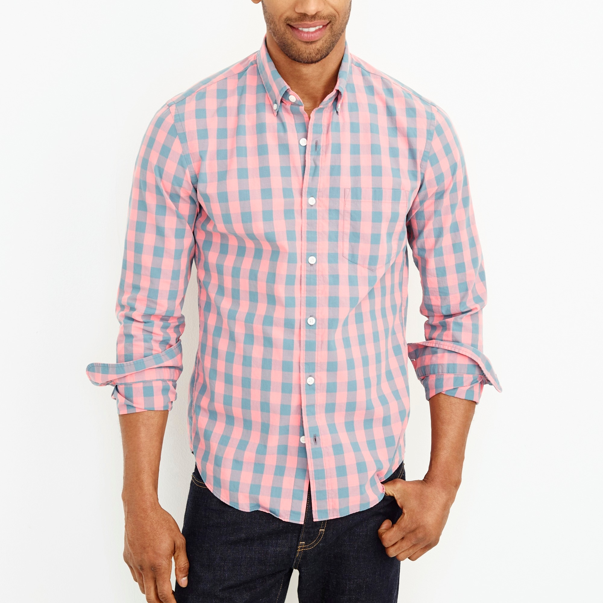 men's washed shirt in gingham - men's woven shirts