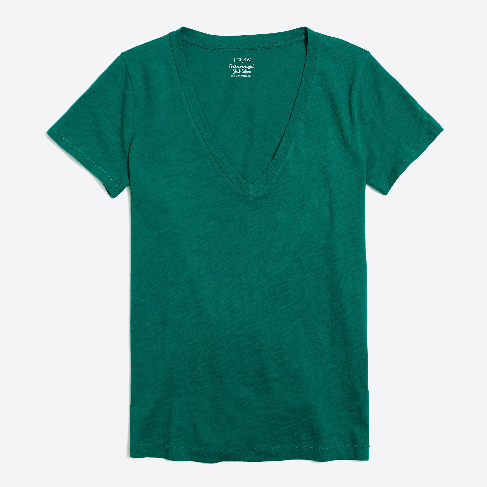 women's featherweight slub cotton v-neck t-shirt - women's knits
