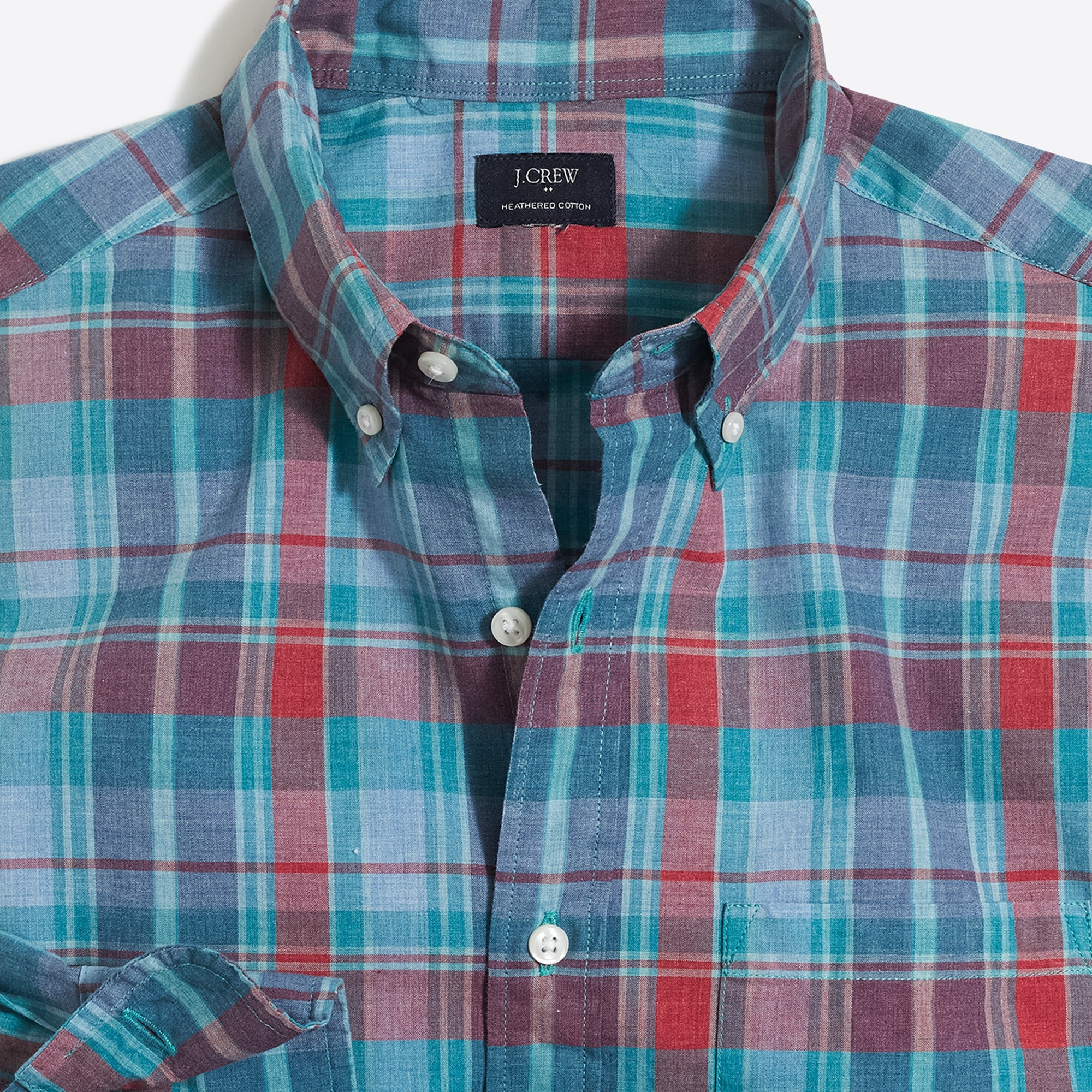 Image 2 for Heathered cotton plaid shirt