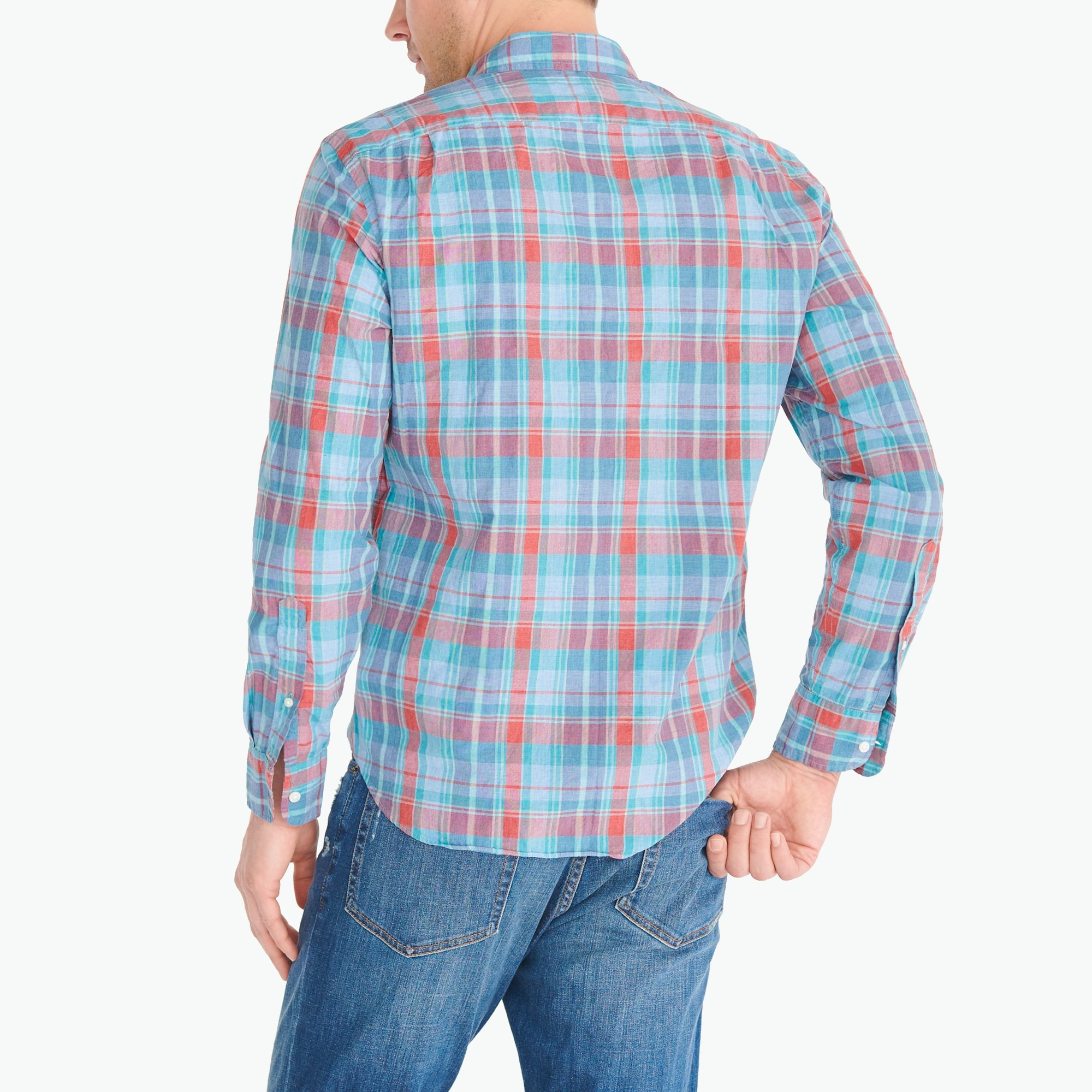 Heathered cotton plaid shirt