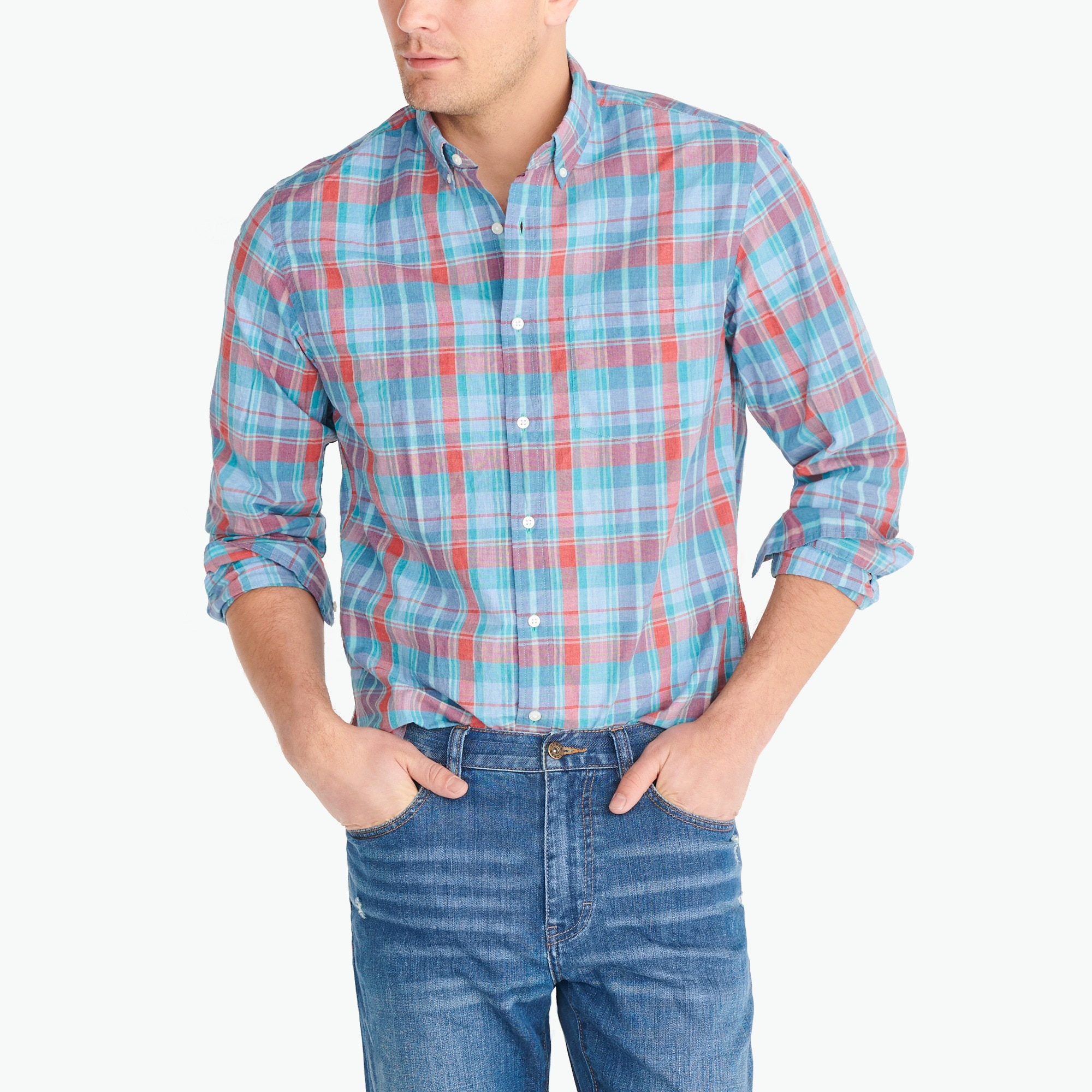 Image 1 for Heathered cotton plaid shirt