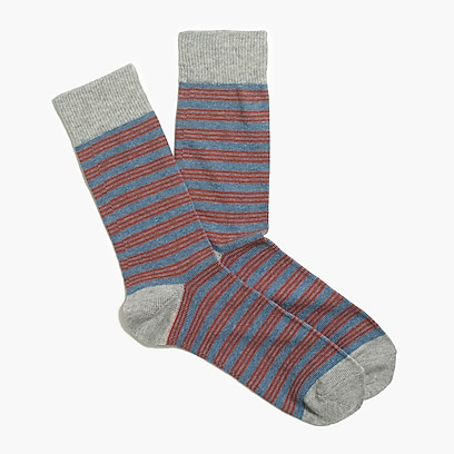 factory mens Triple narrow-striped socks