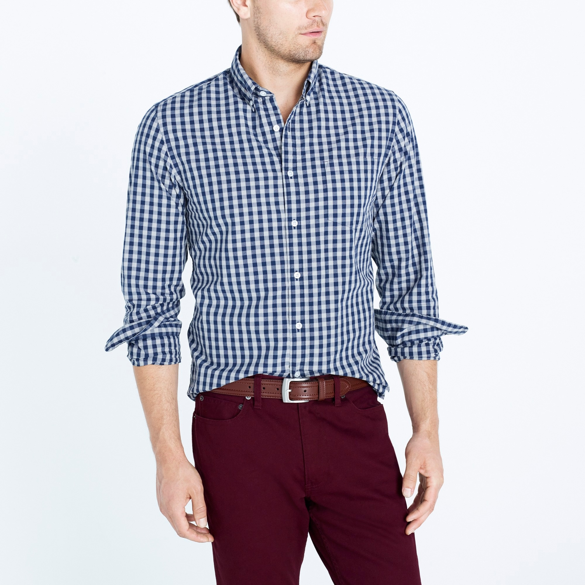 Washed shirt in two-tone gingham