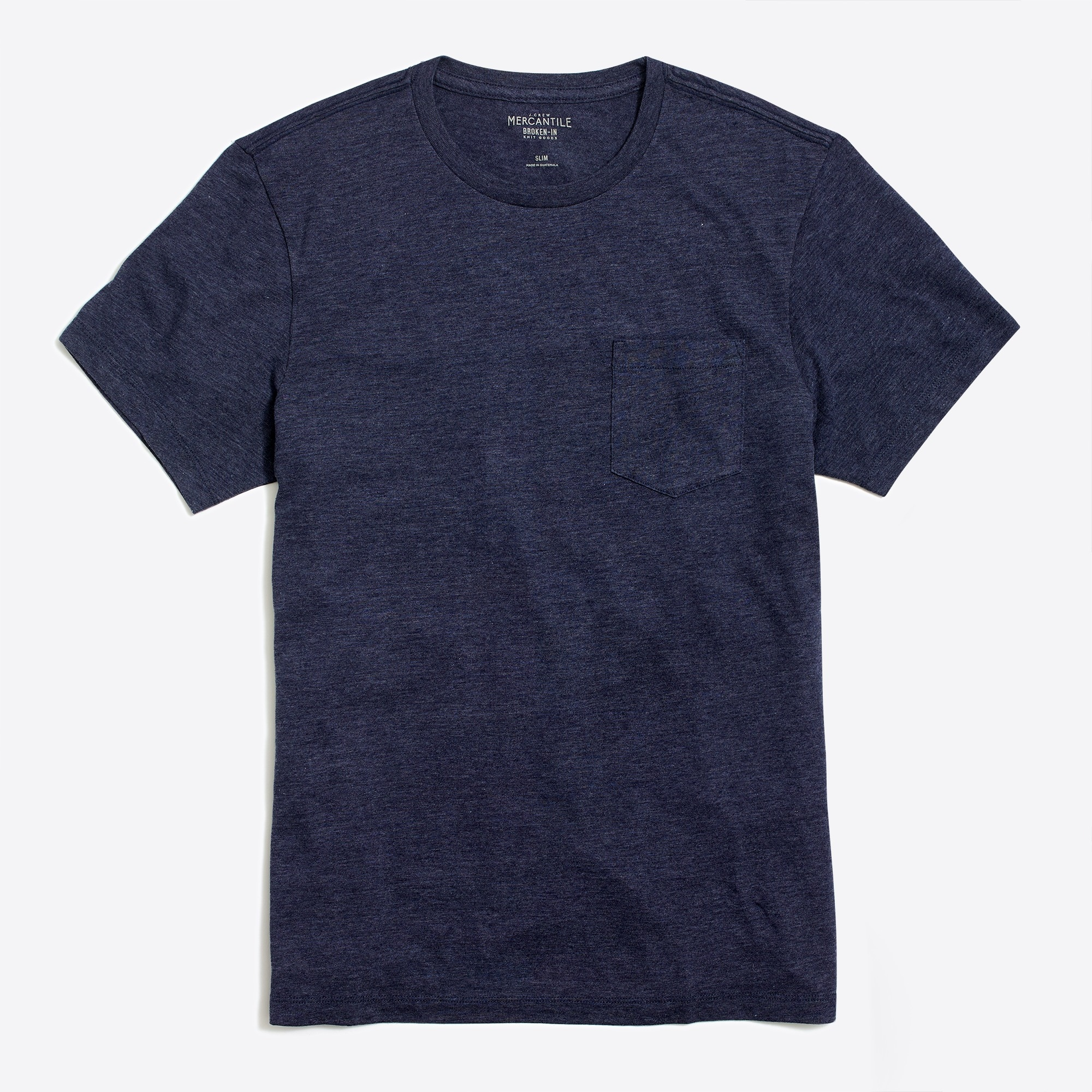factory mens Slim heathered washed pocket T-shirt