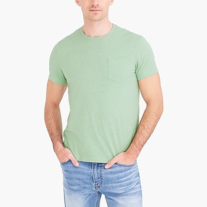 factory mens Slim heathered washed jersey pocket T-shirt