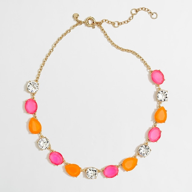 j.crew factory: factory neon stone and crystal necklace