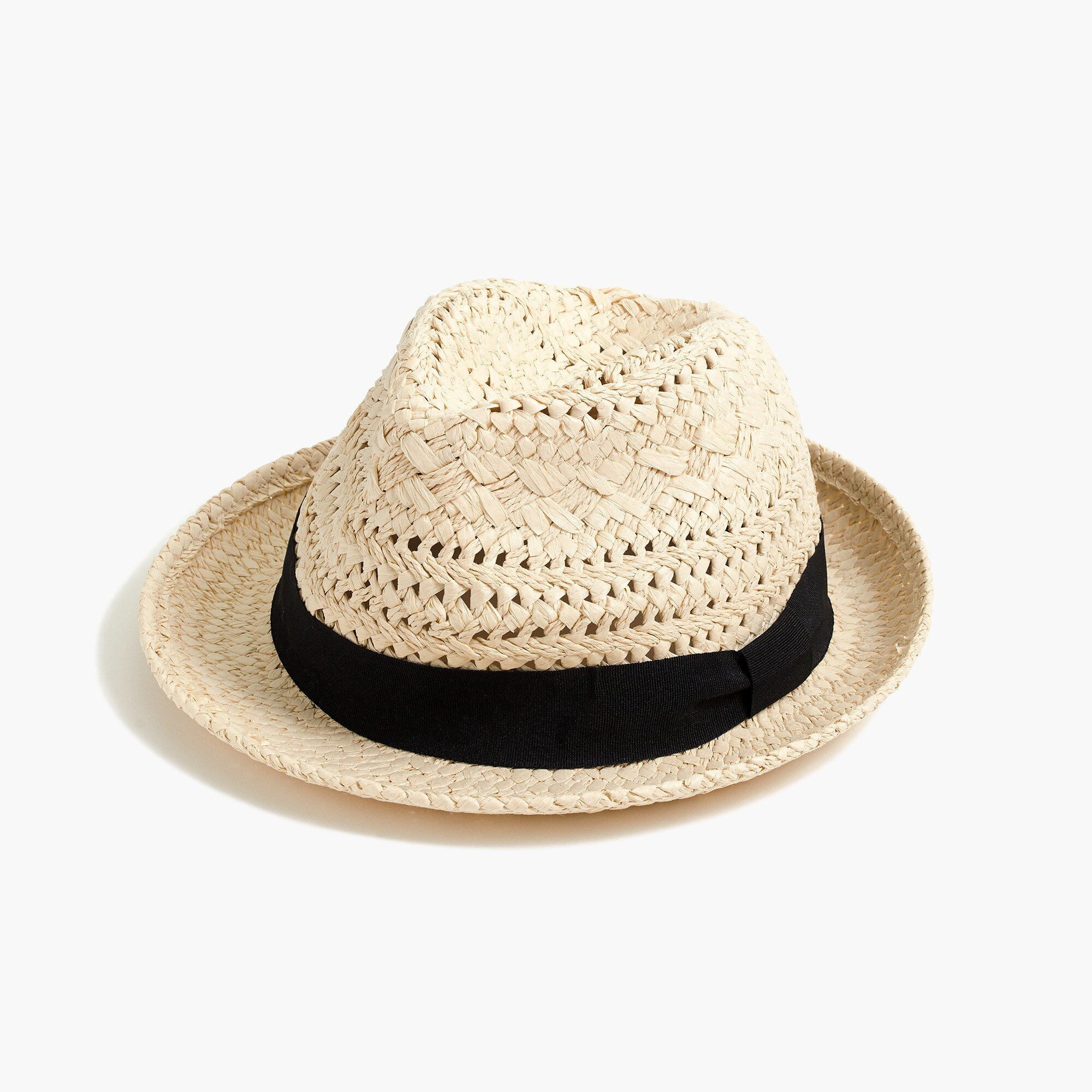 factory womens Straw fedora with ribbon