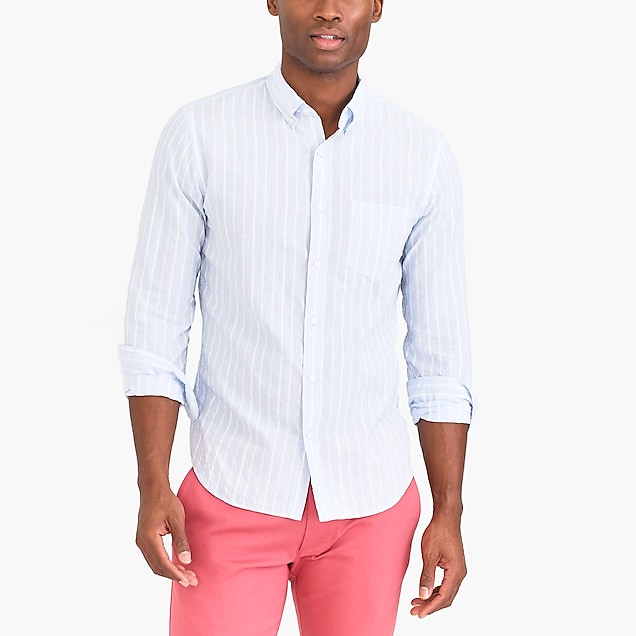 j.crew factory: slim-fit seersucker shirt