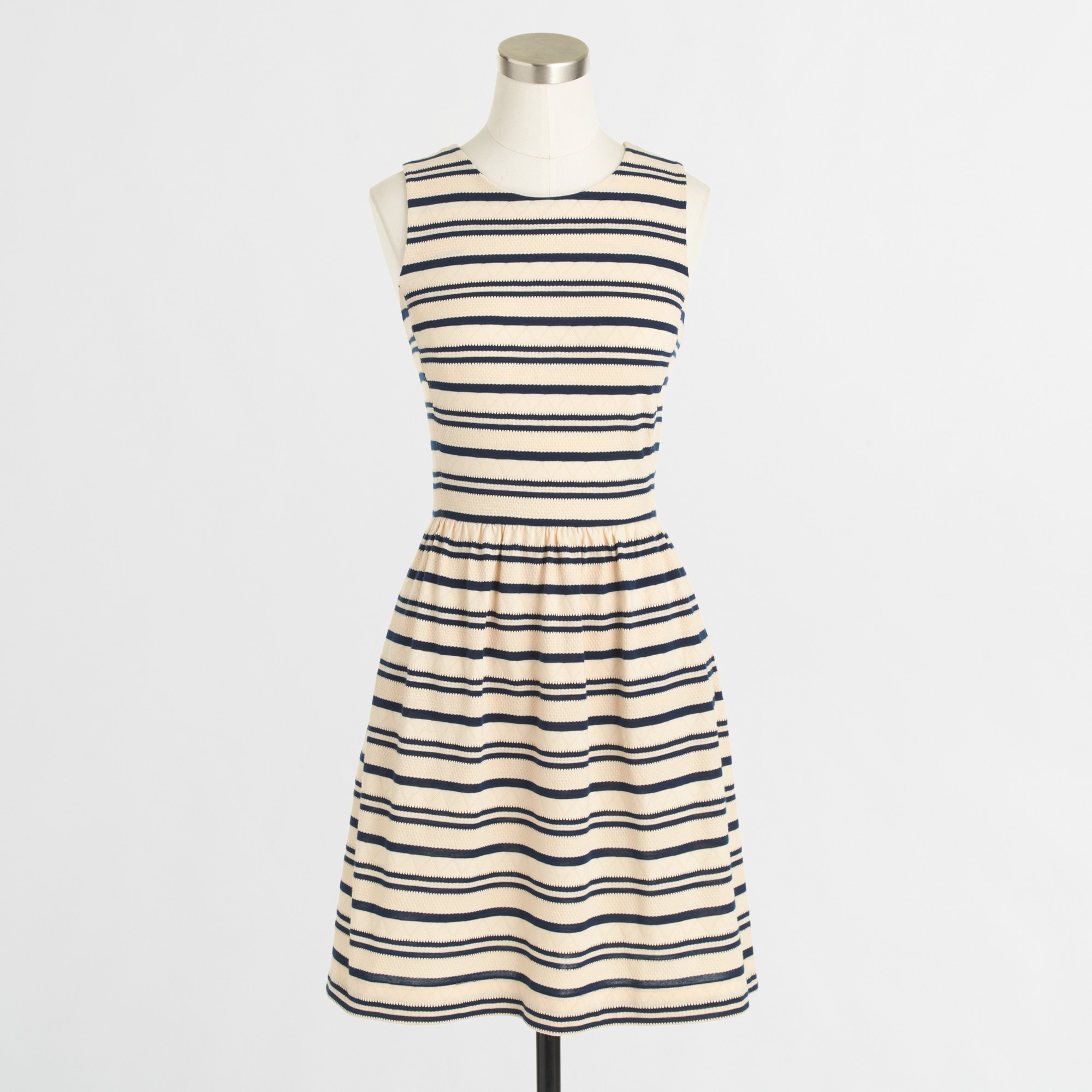factory pleated ponte dress in stripe :