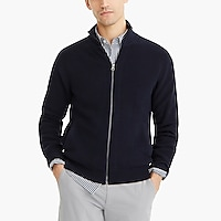 Cotton ribbed full-zip sweater
