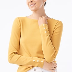 Long-sleeve bateau T-shirt with button sleeves