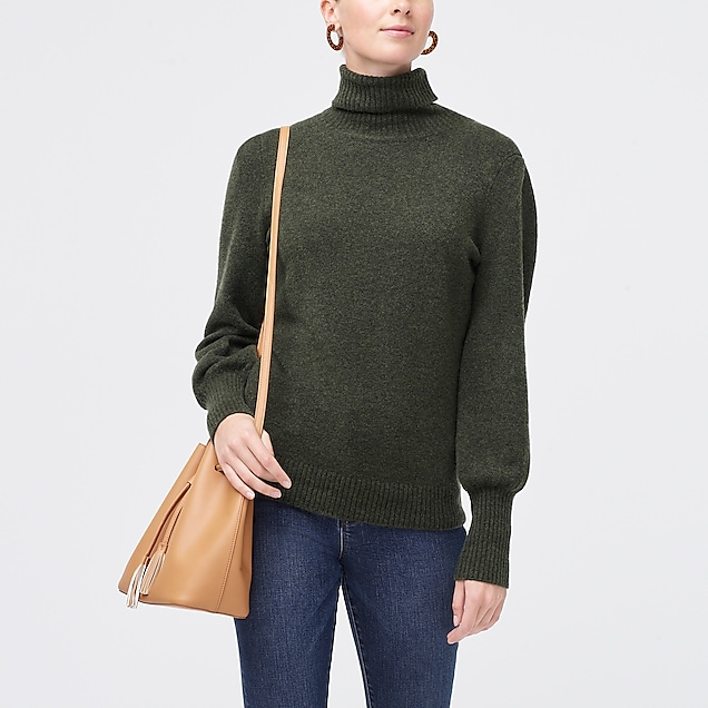 j.crew factory: puff-sleeve sweater in extra-soft yarn