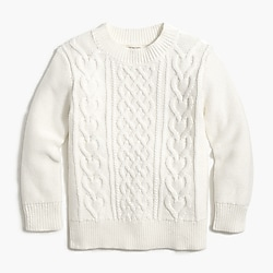 Girls' cable heart sweater