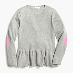 Girls' heart elbow peplum sweater