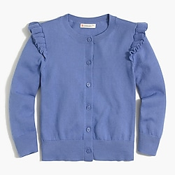 Girls' ruffle-trimmed cardigan
