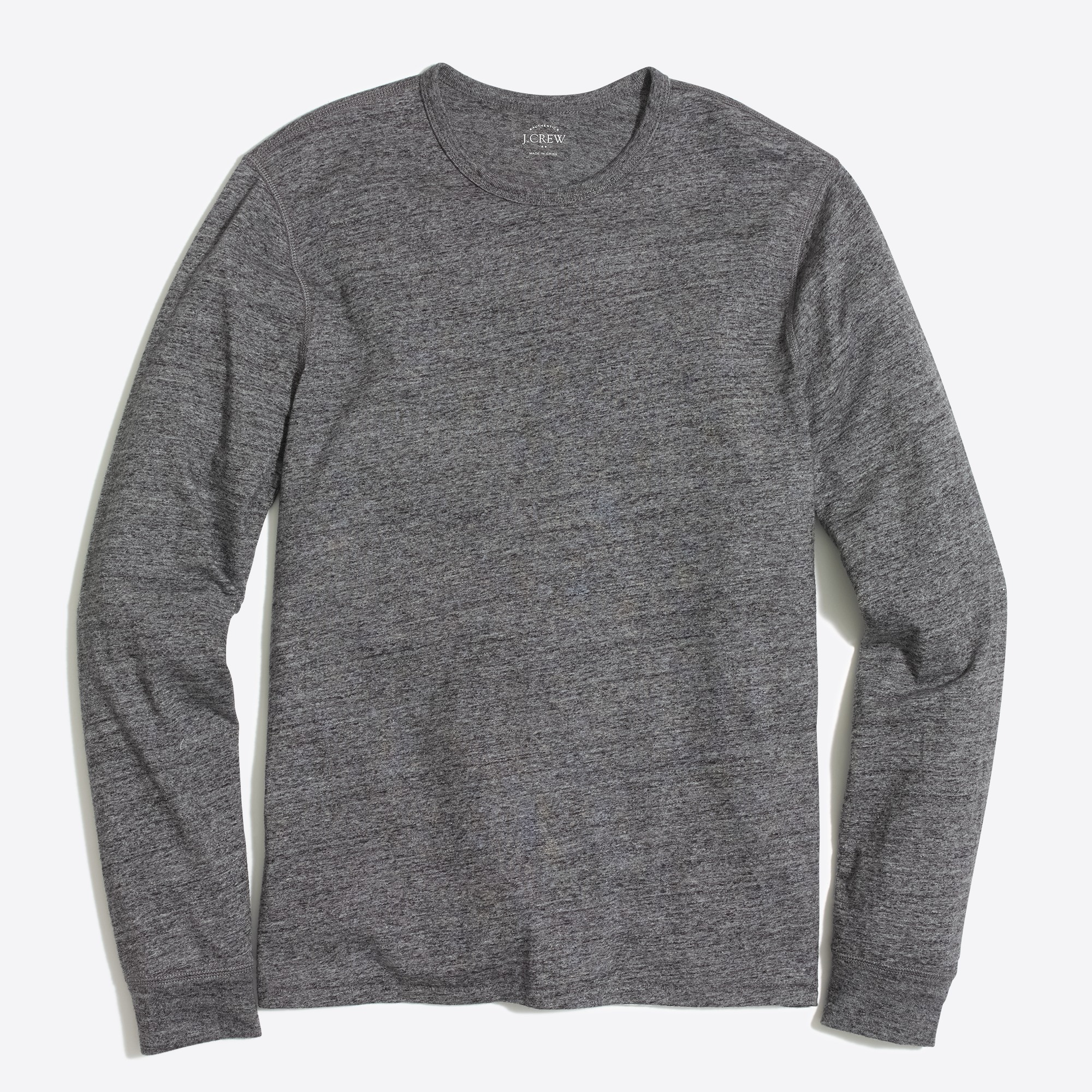 factory mens Long-sleeve textured cotton T-shirt