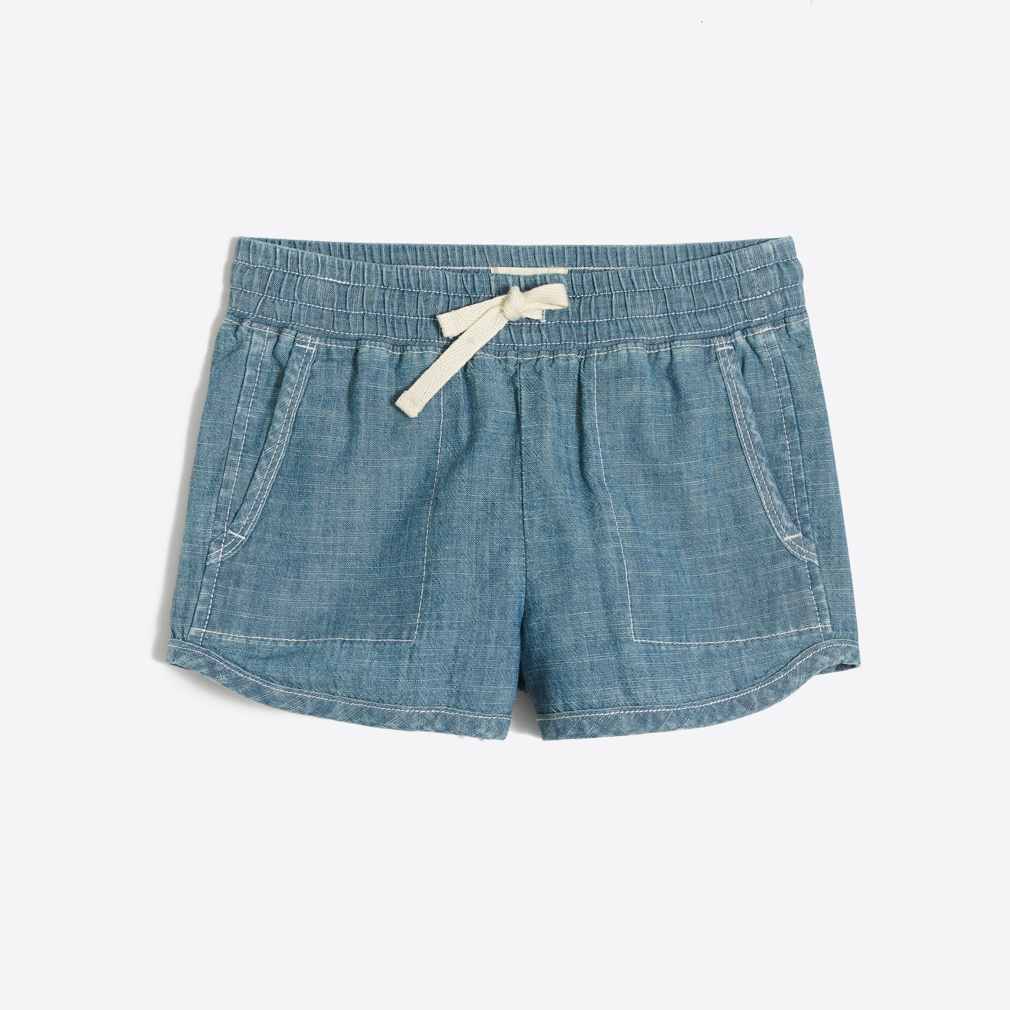 Girls' pull-on short in chambray factorygirls shorts & rompers c