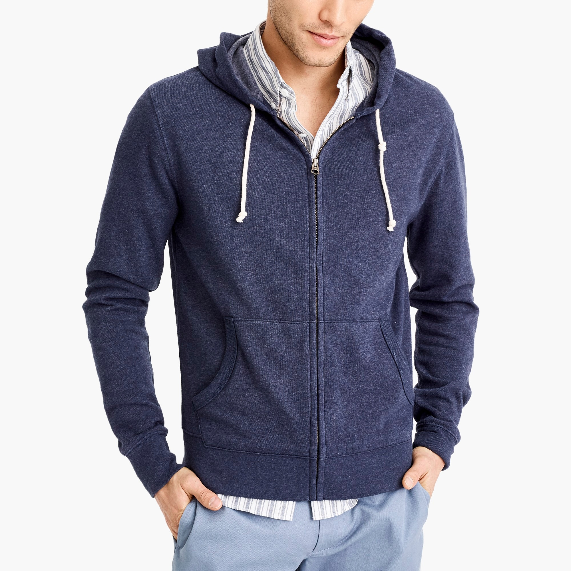 factory mens Lightweight fleece full-zip hoodie