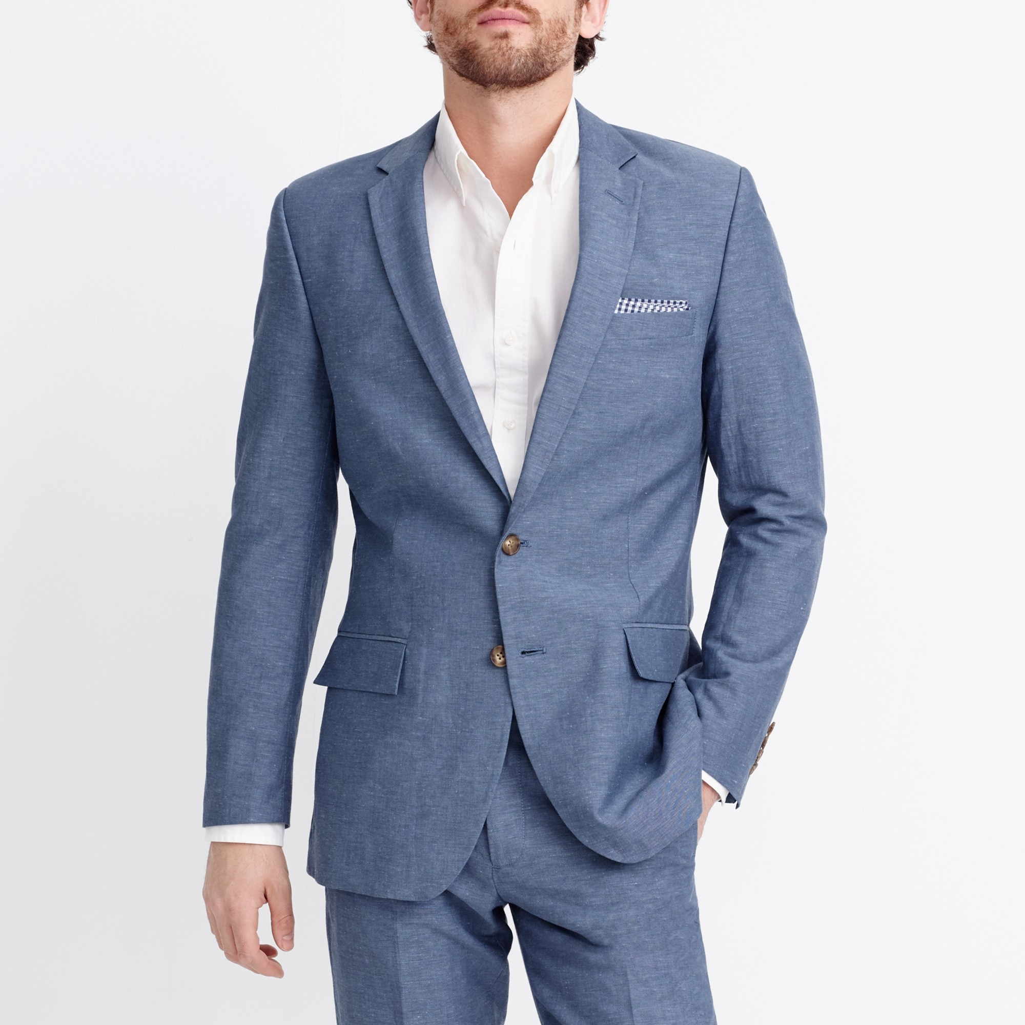 thompson suit jacket in slub linen : factorymen blazers