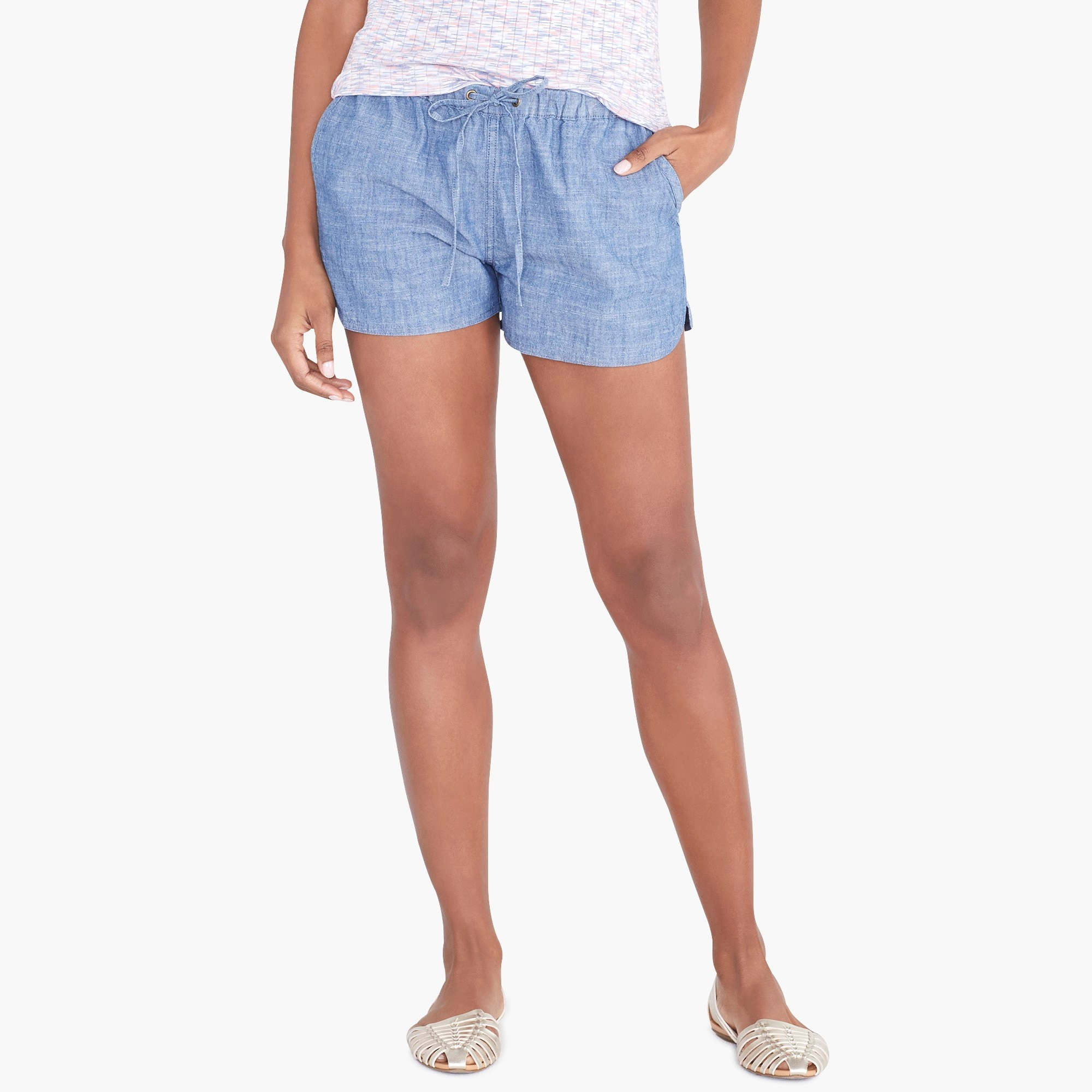 "factory womens 3"" chambray drawstring short"