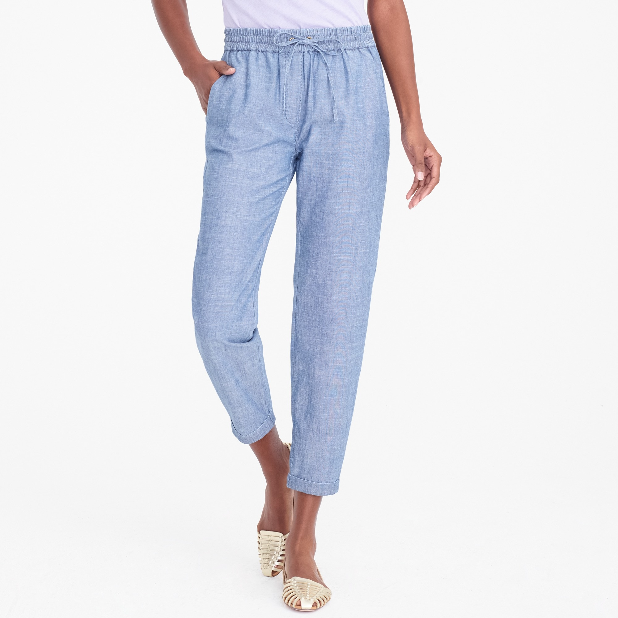 petite chambray drawstring pant : factorywomen pants