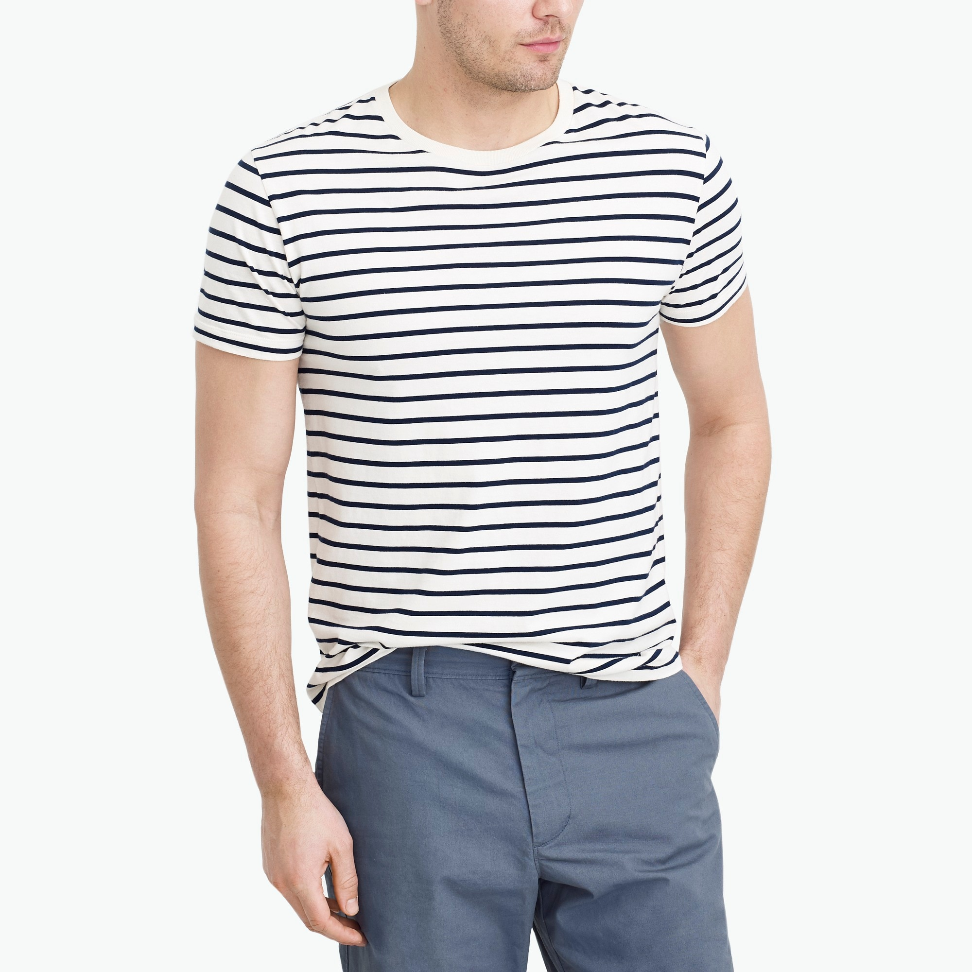 factory mens J.Crew Mercantile slim Broken-in deck-striped T-shirt