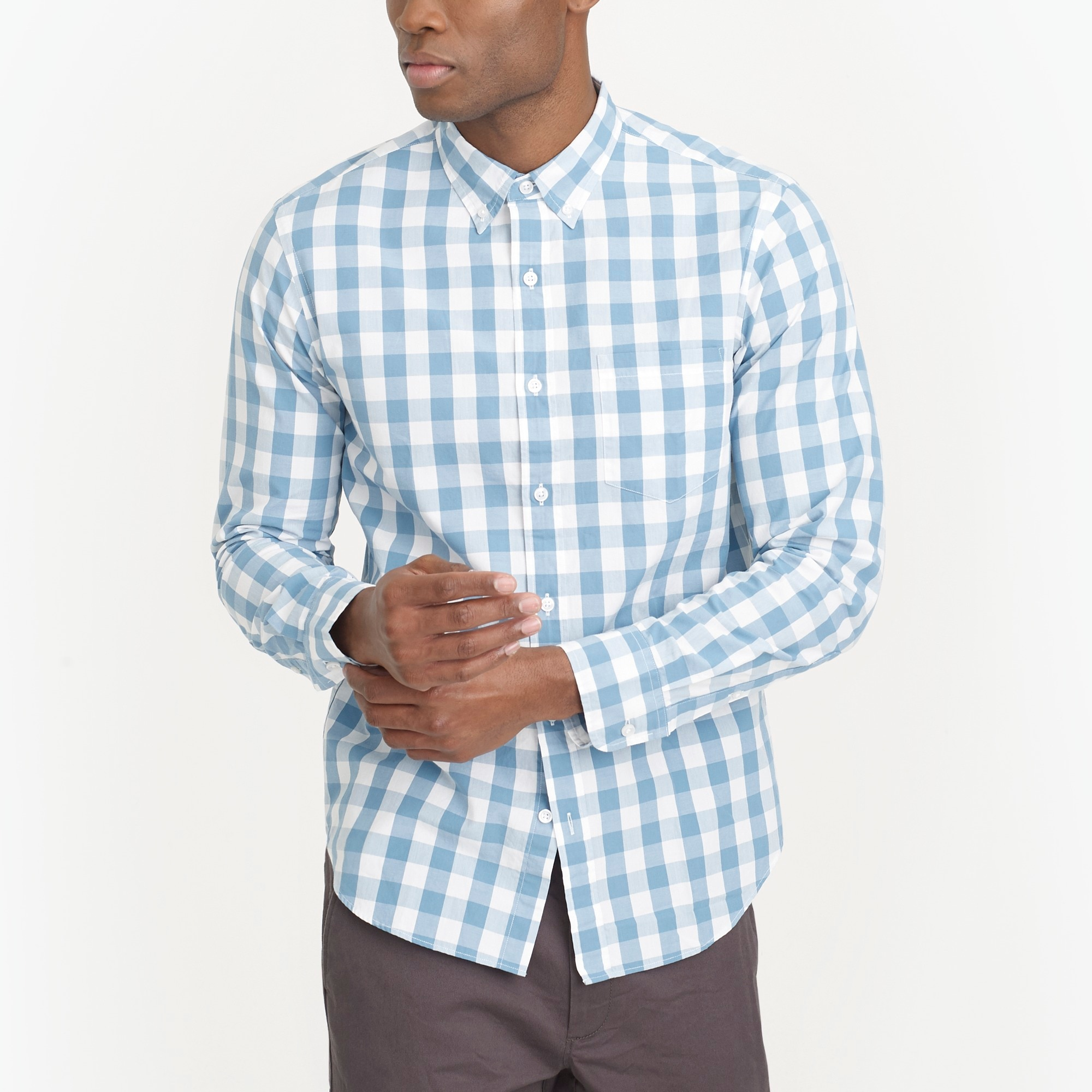 Image 1 for Slim washed shirt in oversized gingham