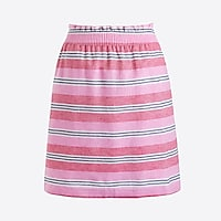 Mixed-stripe linen-cotton sidewalk mini skirt
