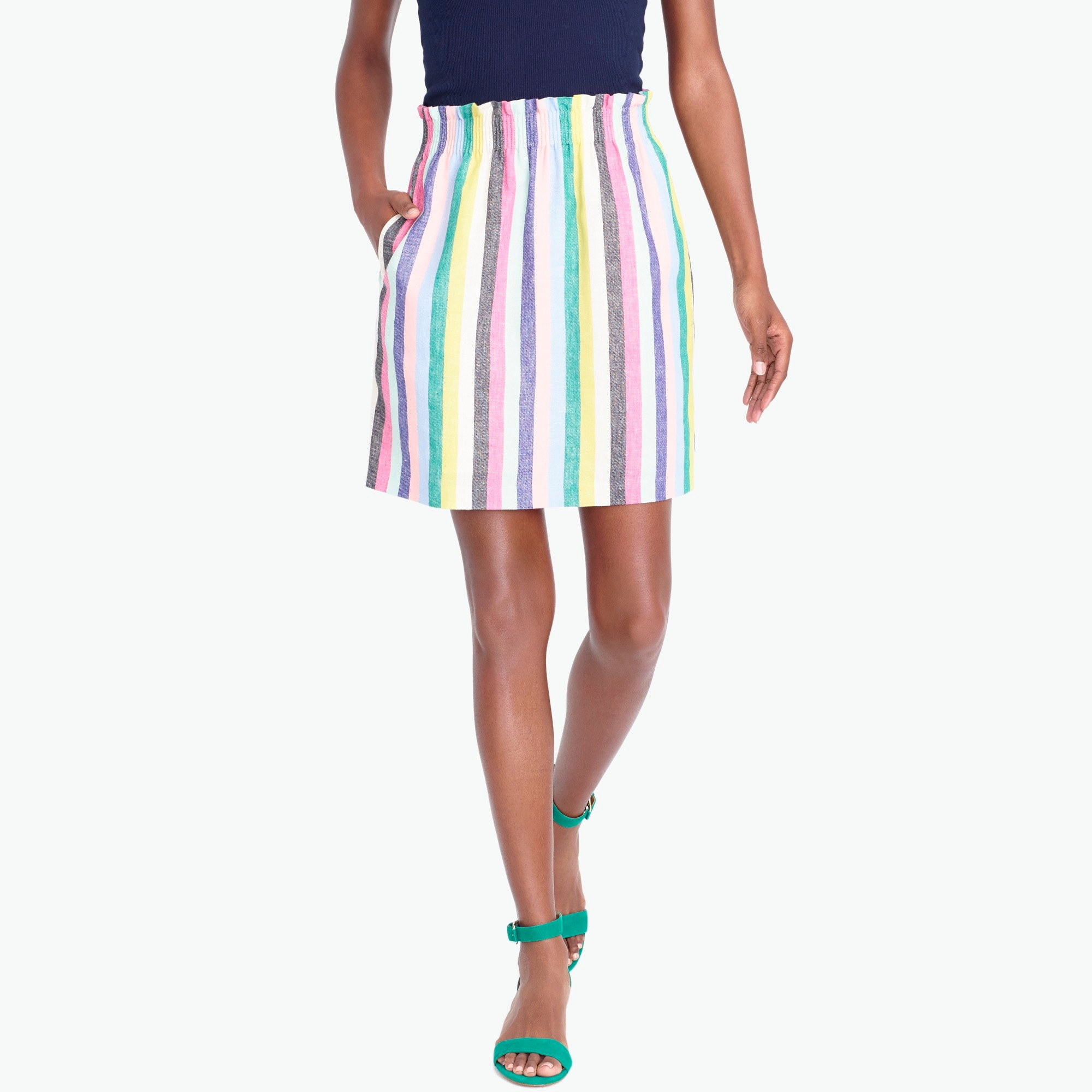 Mixed-stripe linen-cotton sidewalk mini skirt factorywomen the score: tie-shoulder t-shirts and sidewalk skirts c