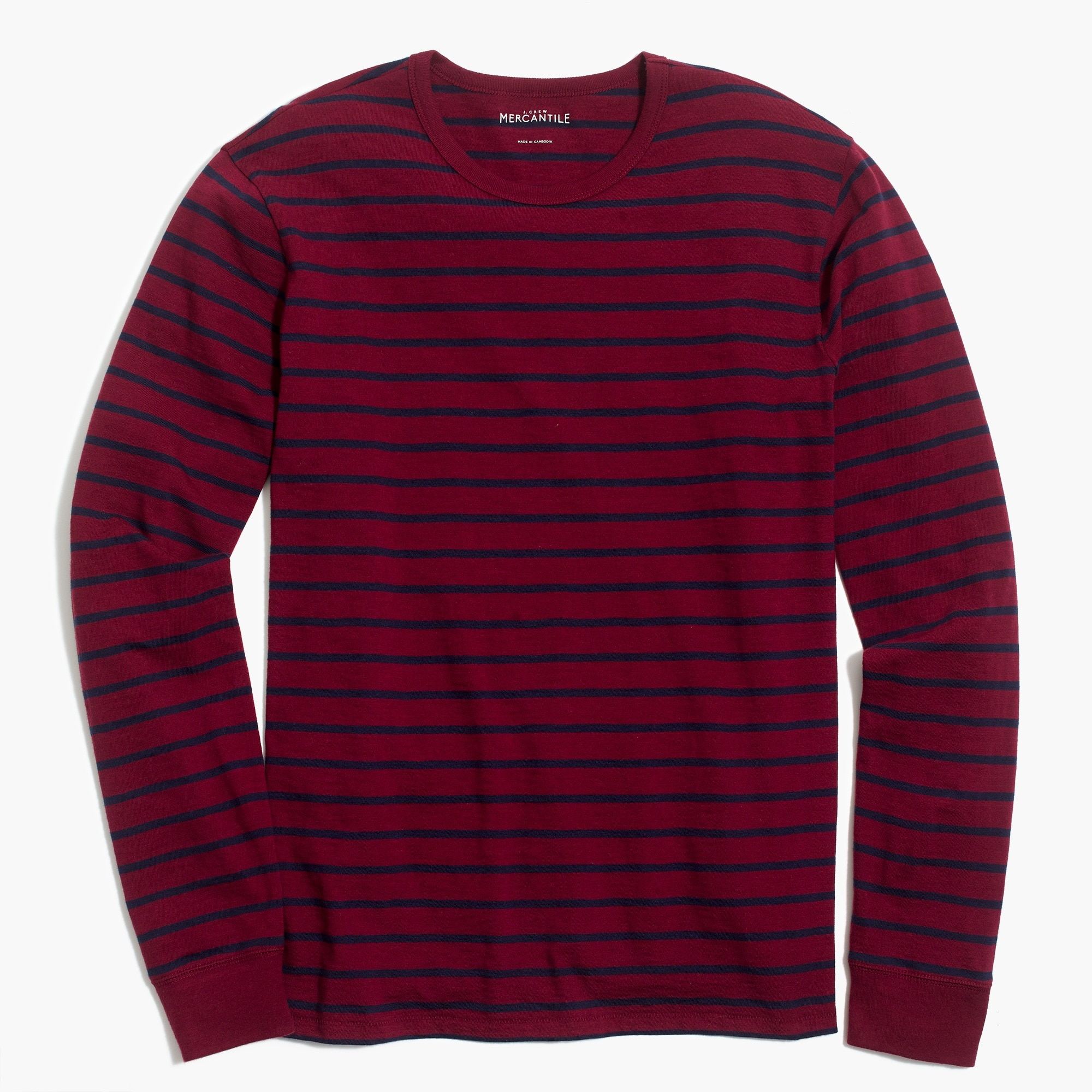 Image 2 for Long-sleeve deck-striped textured cotton T-shirt