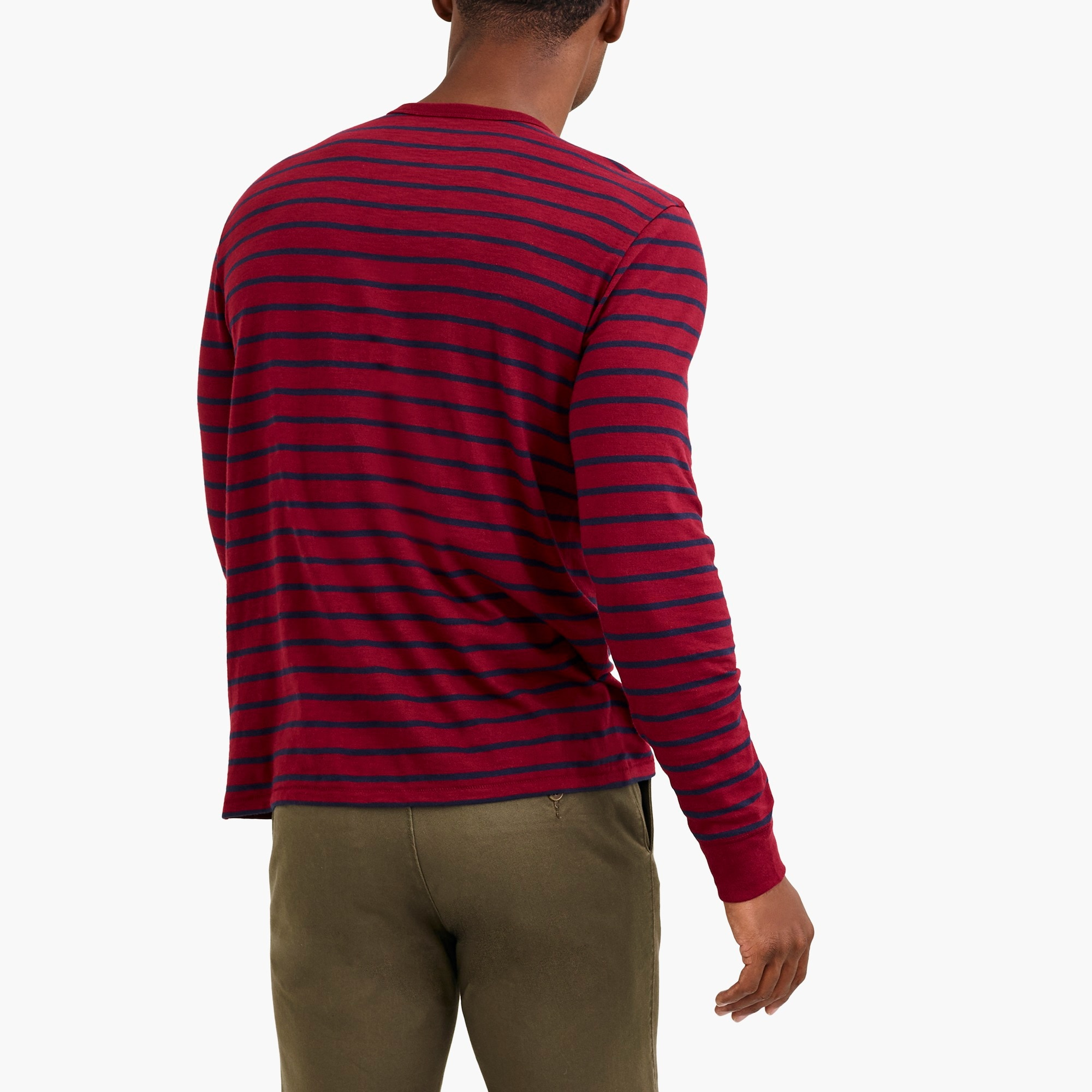 Image 3 for Long-sleeve deck-striped textured cotton T-shirt