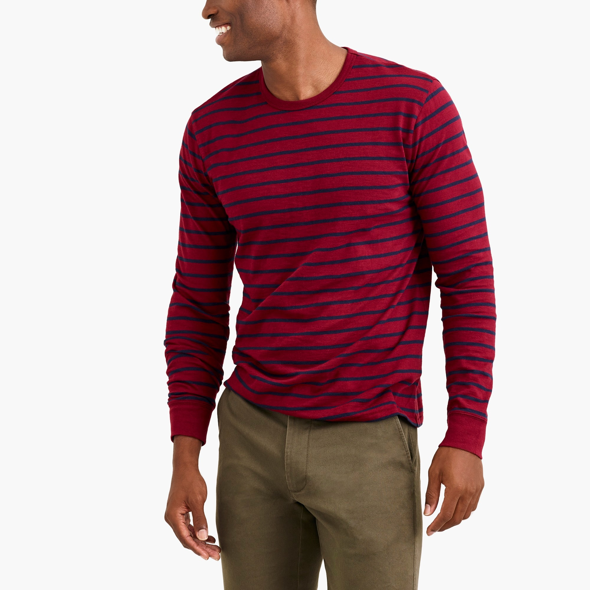 j.crew factory: long-sleeve deck-striped textured cotton t-shirt