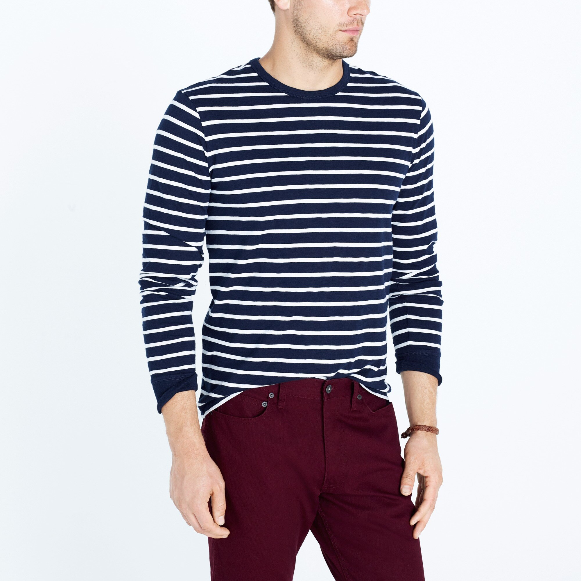 factory mens Long-sleeve deck-striped textured cotton T-shirt