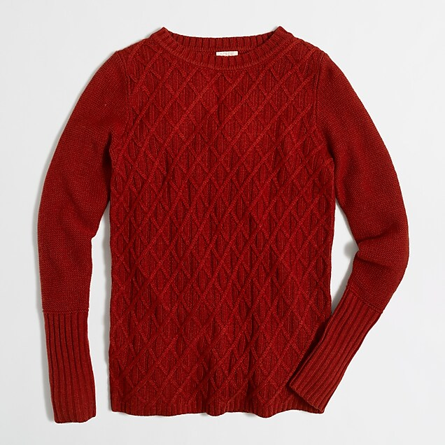 93a1f5f4d699df J.Crew Factory: Cable-knit tunic sweater