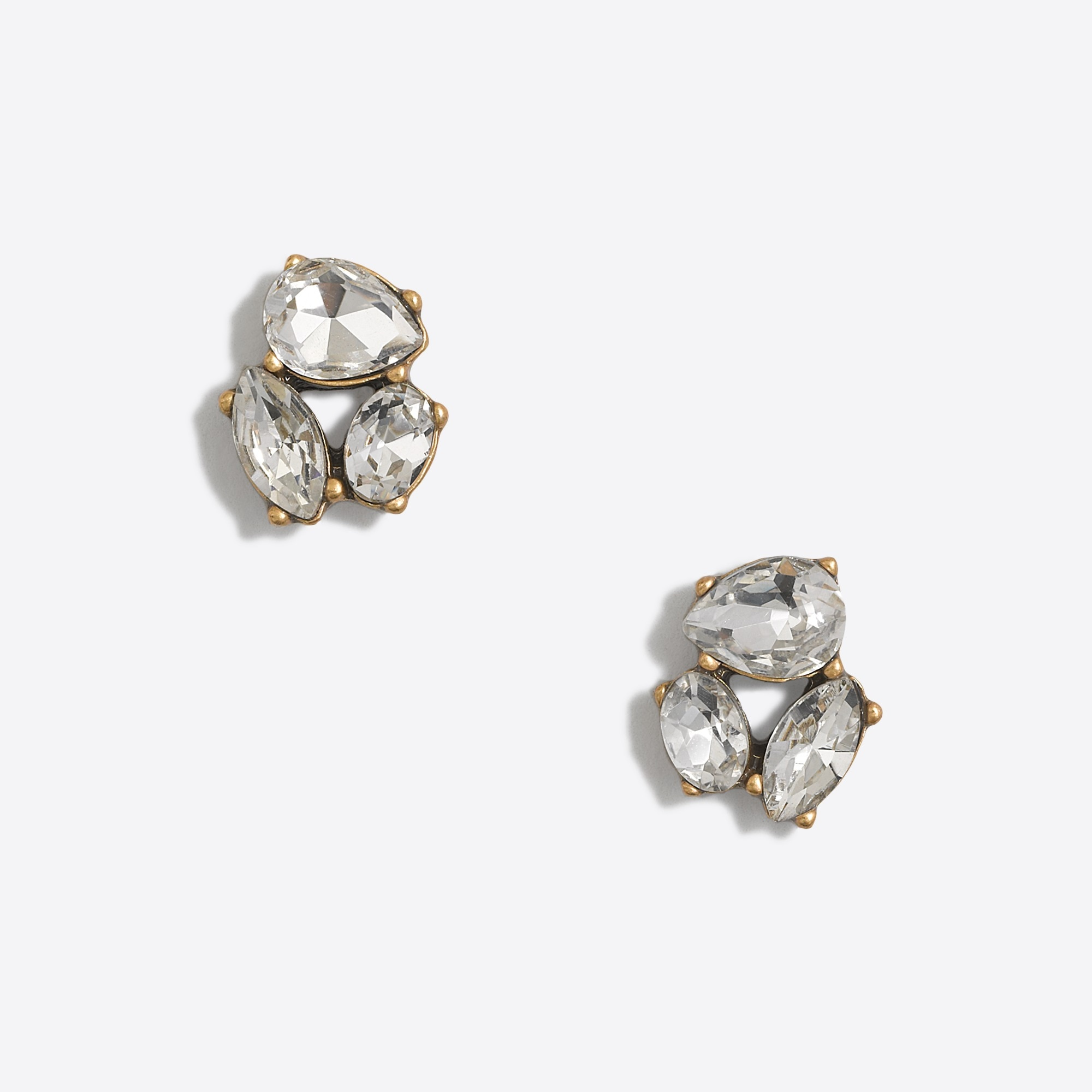 factory womens Crystal trio earrings