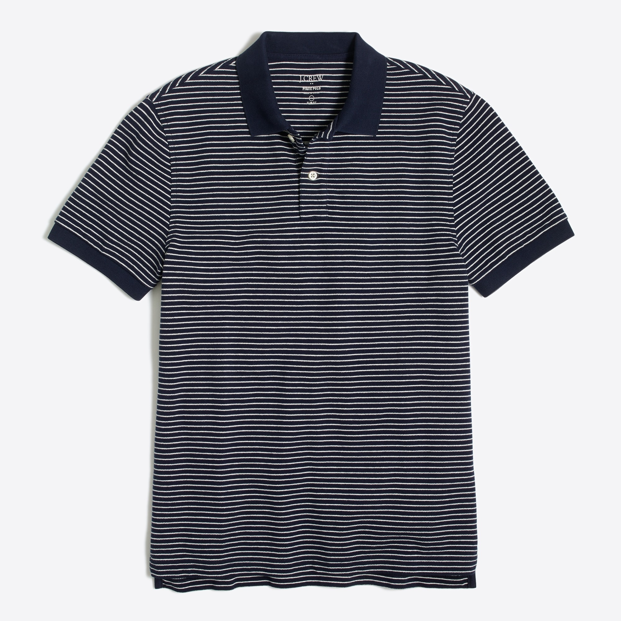 Image 2 for Slim striped piqué polo shirt