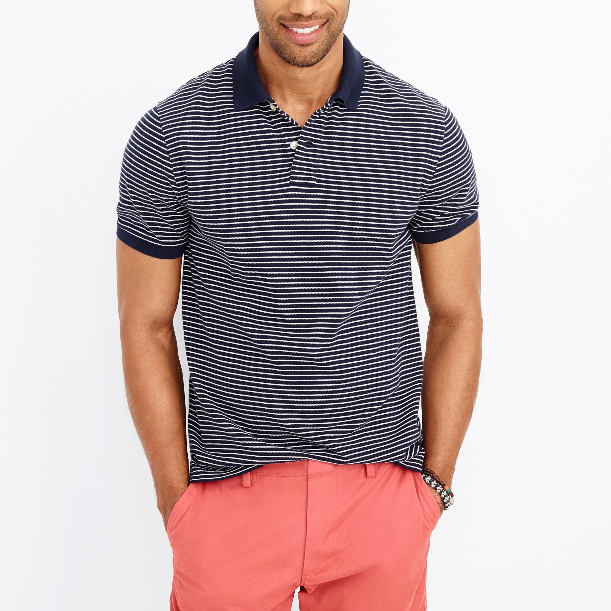 slim striped piqué polo shirt : factorymen polos
