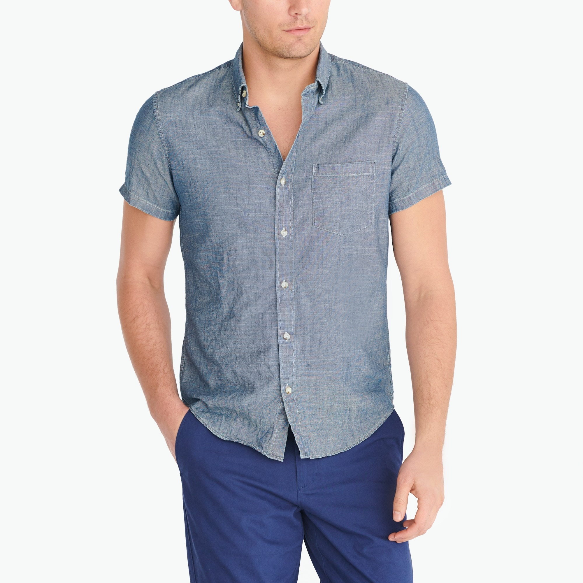 slim short-sleeve chambray shirt : factorymen shirts