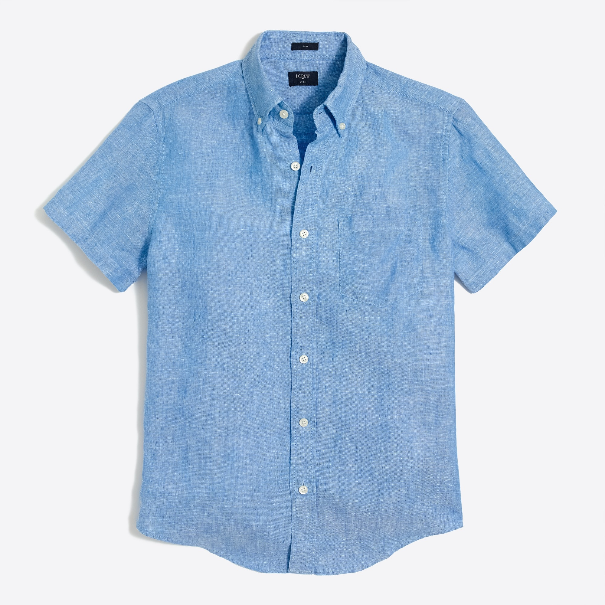 Image 2 for Slim short-sleeve linen shirt