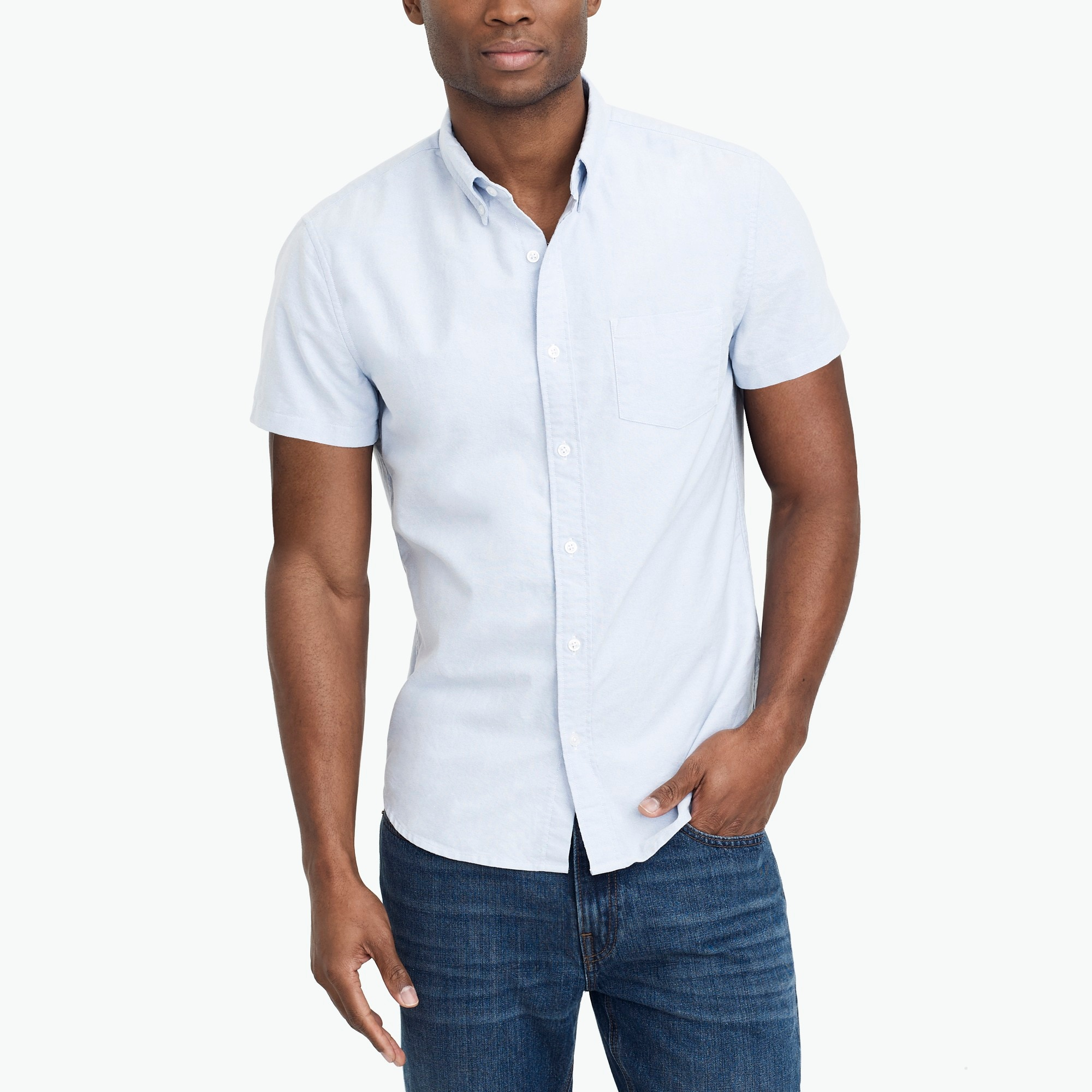 Slim short-sleeve oxford shirt