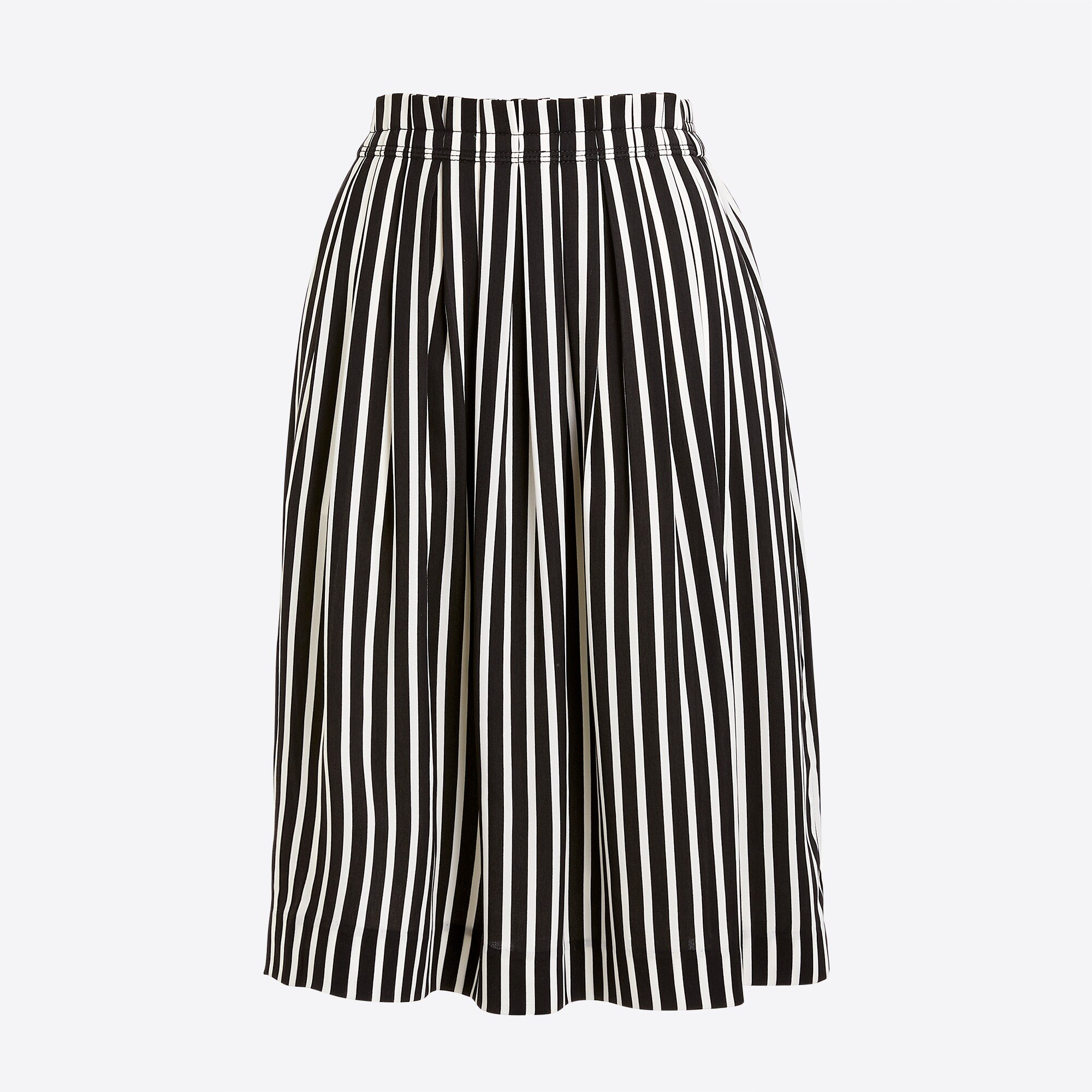 factory womens Striped pleated midi skirt