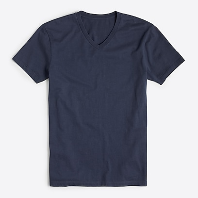 factory mens Washed jersey V-neck T-shirt